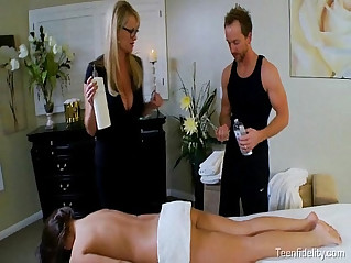 Teen seduced by a busty milf masseuse and her husband