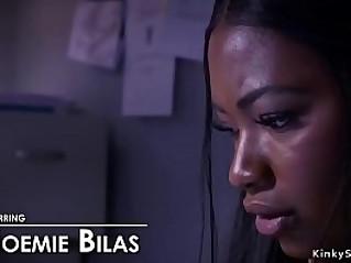 Lesbian boss whips black ass slave