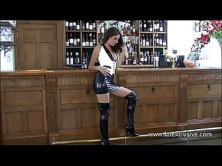 Uniform latex babe Olivias fetishwear and long rubber boots kink of beautiful br