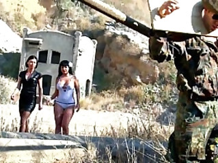 Two lesbians sluts having fun with tied military guy