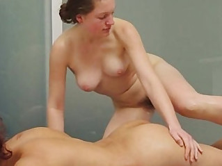 Lesbian nuru massage leads to licking of hairy cunts