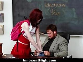 InnocentHigh Redhead Rides Her Teachers Cock