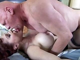 Big boobed redhead fucking in thigh high nylons