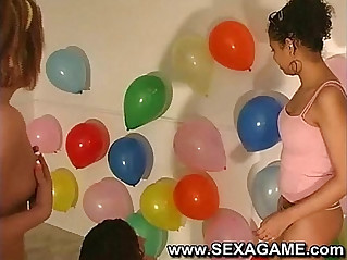 Student fucking with balloons