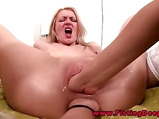 Lesbian threesome includes anal fisting in their holes