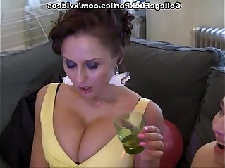 Sexy lesbian threesome at the party