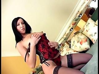 Brunette masturbates in panties and sheer stocking